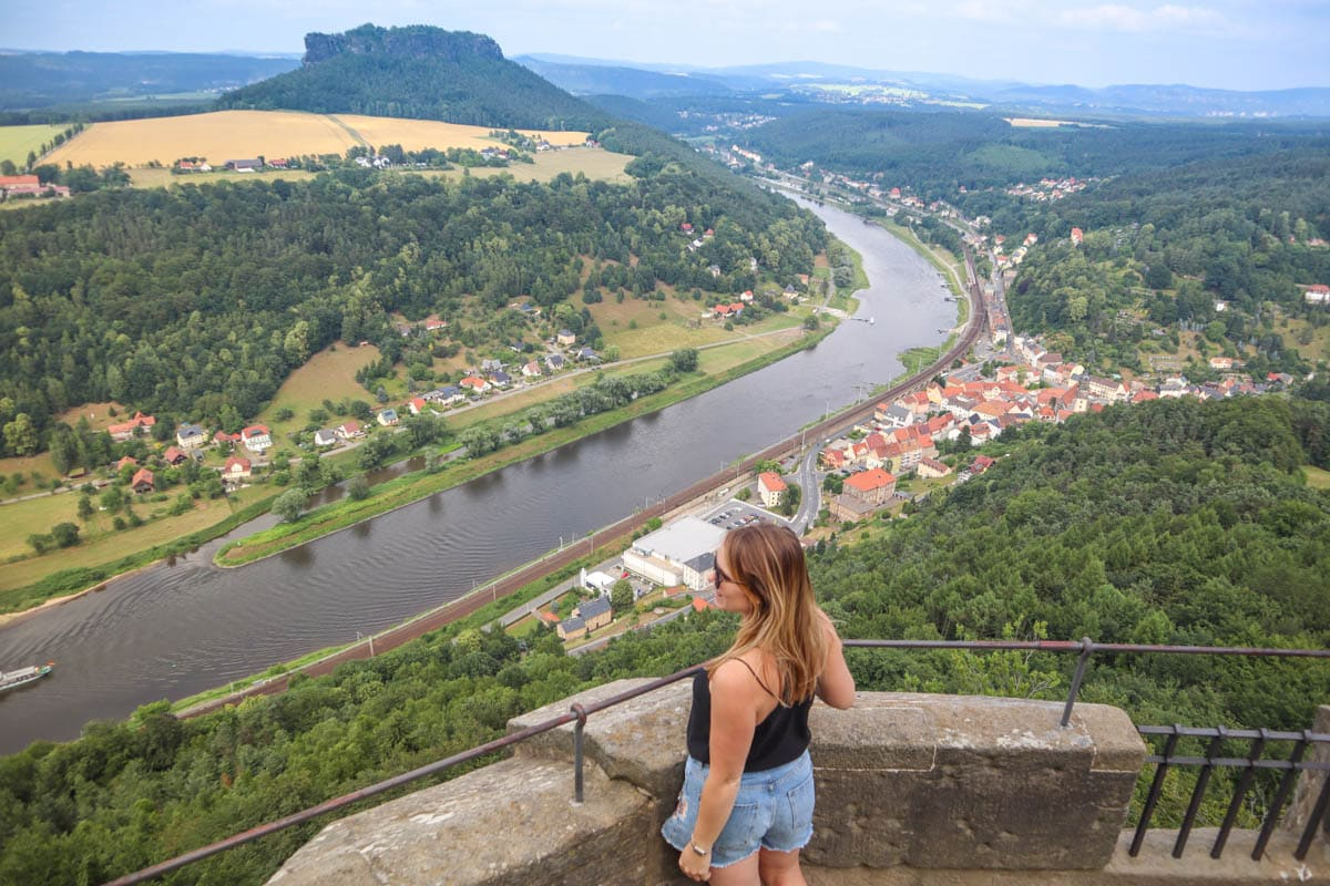 Enjoying the view from Königstein Fortress, Saxon Switzerland