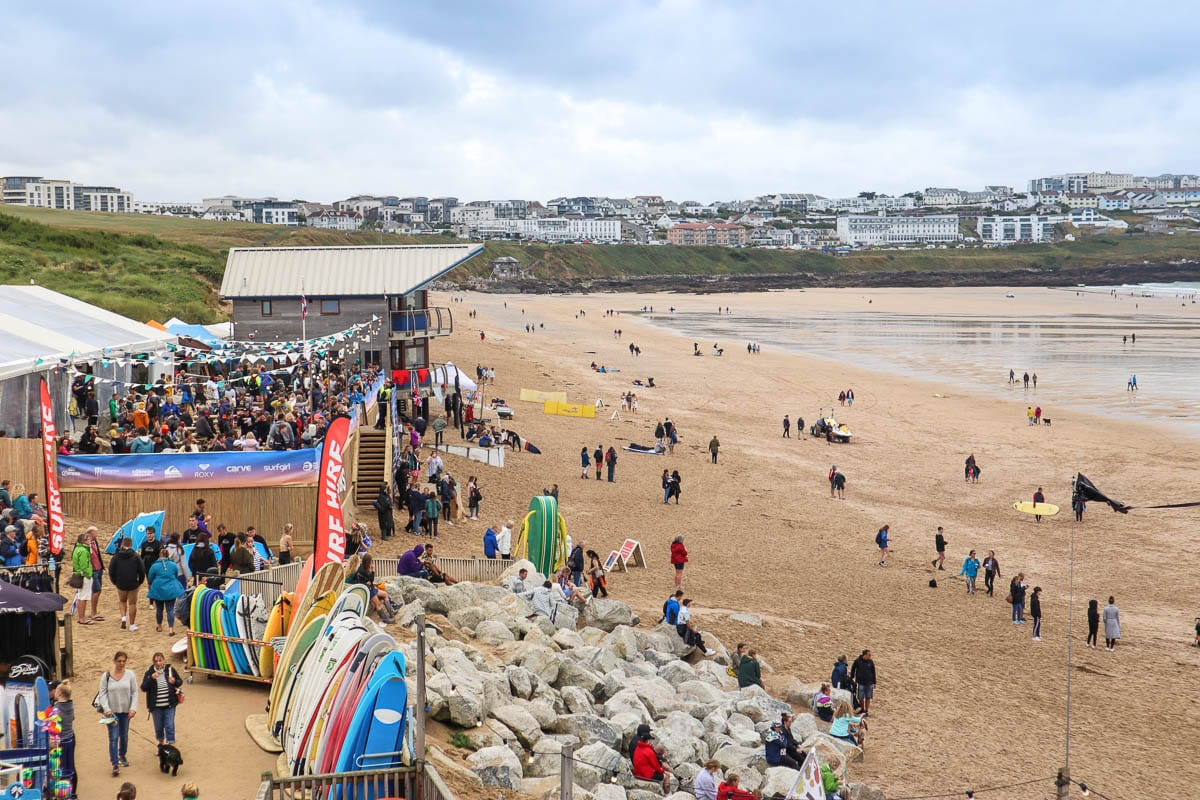 Festival area on Fistral Beach at Boardmasters 2018