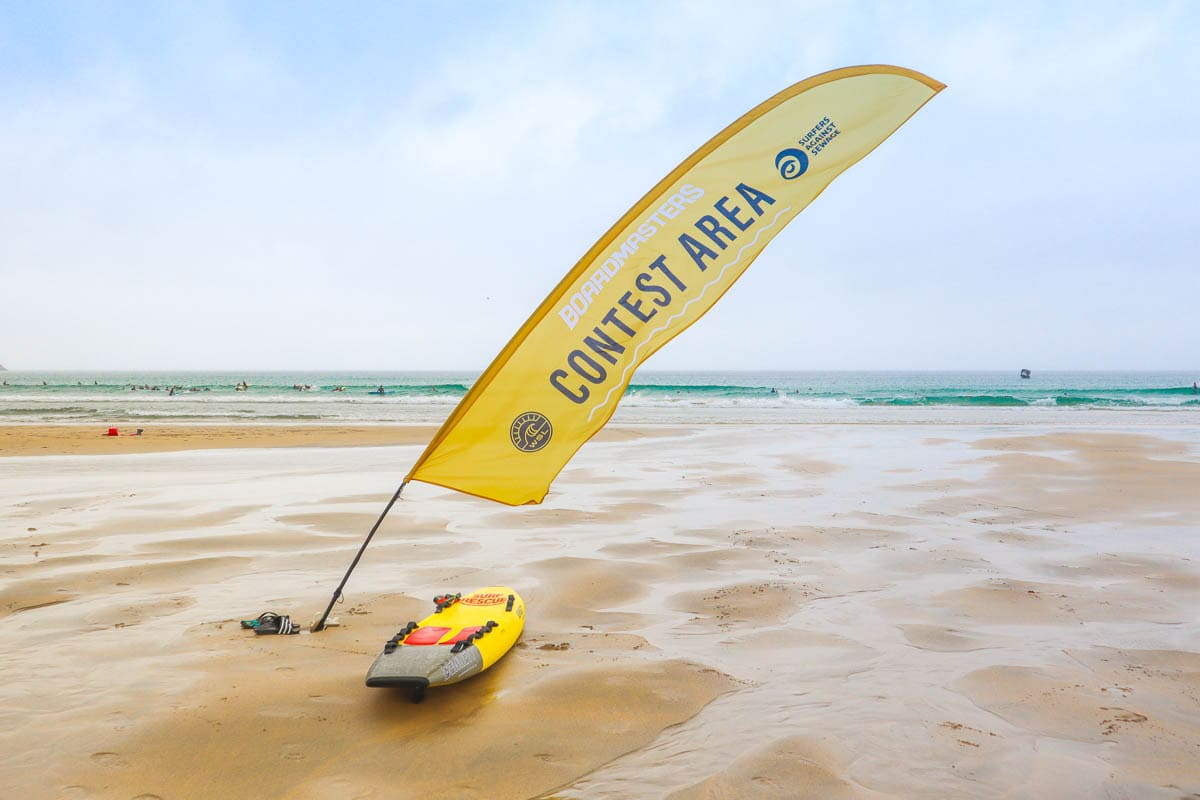 The surf contest area on Fistral Beach, Boardmasters 2018