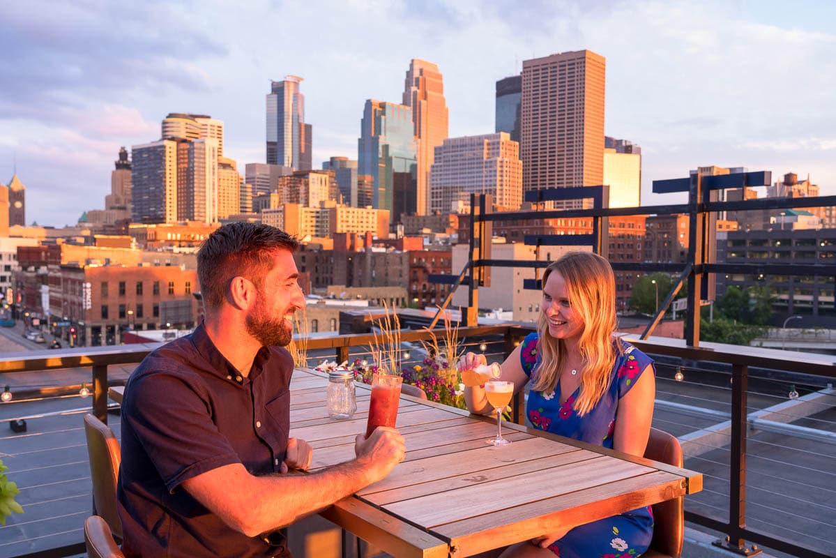 Cocktails on the rooftop of the Hewing Hotel, Minneapolis