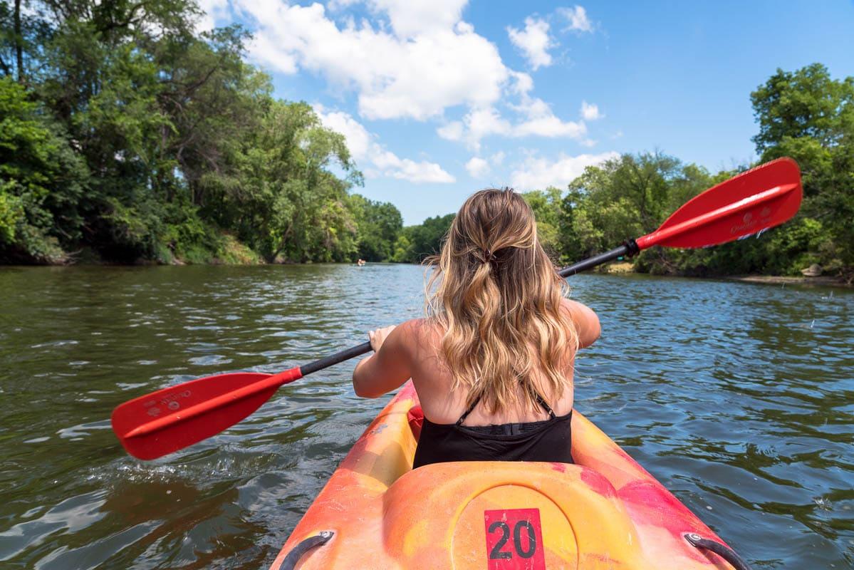 Kayaking at Cannon Falls, Minnesota