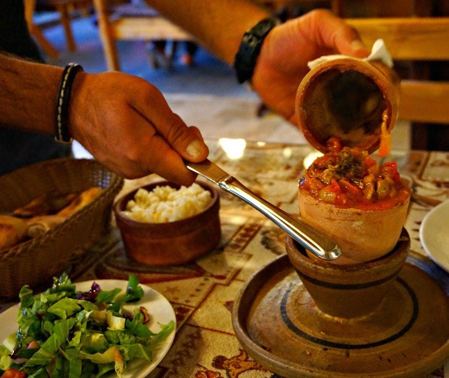 Pottery kebab, Cappadocia, Turkey