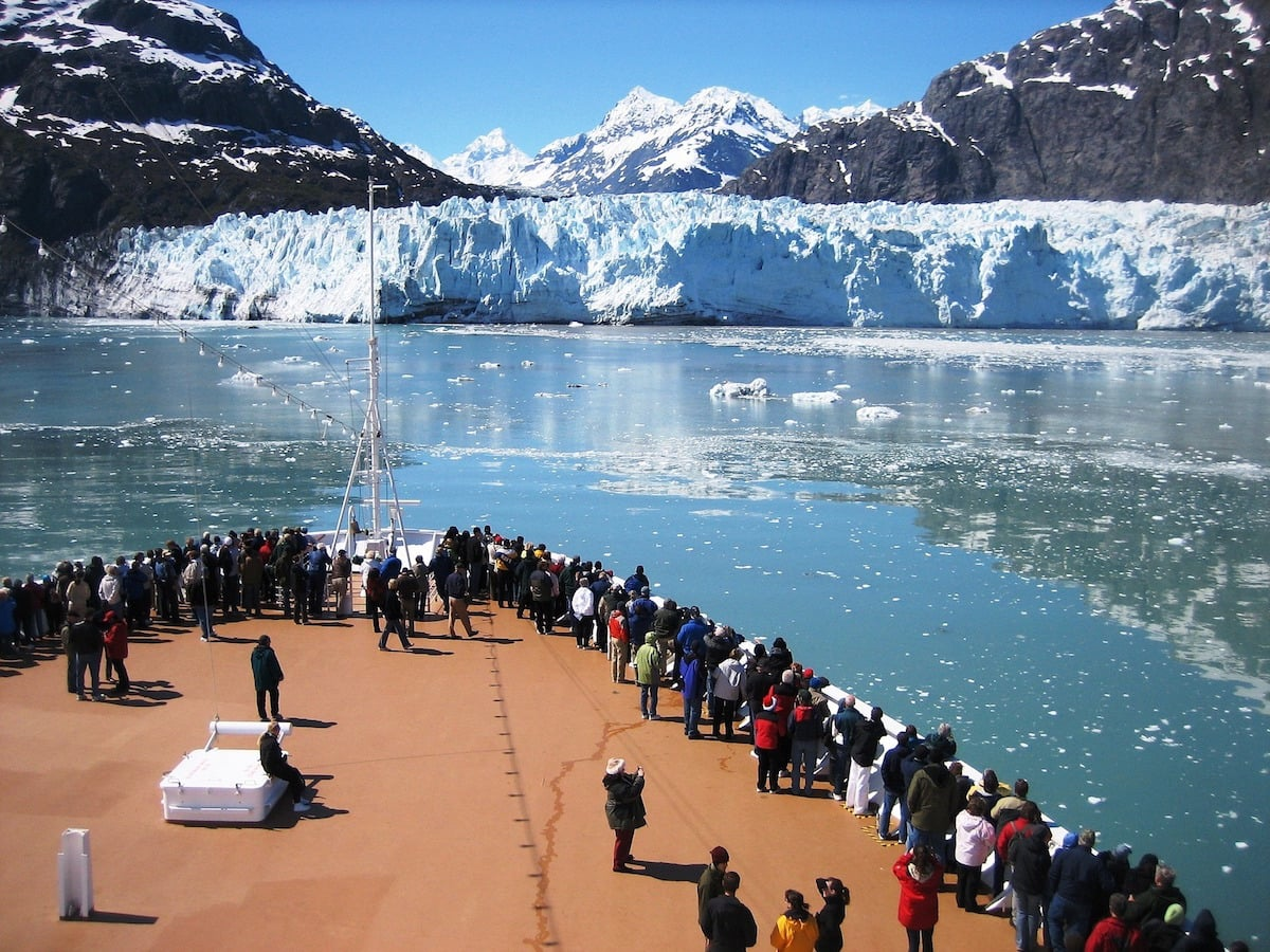 Ship viewing glacier in Alaska