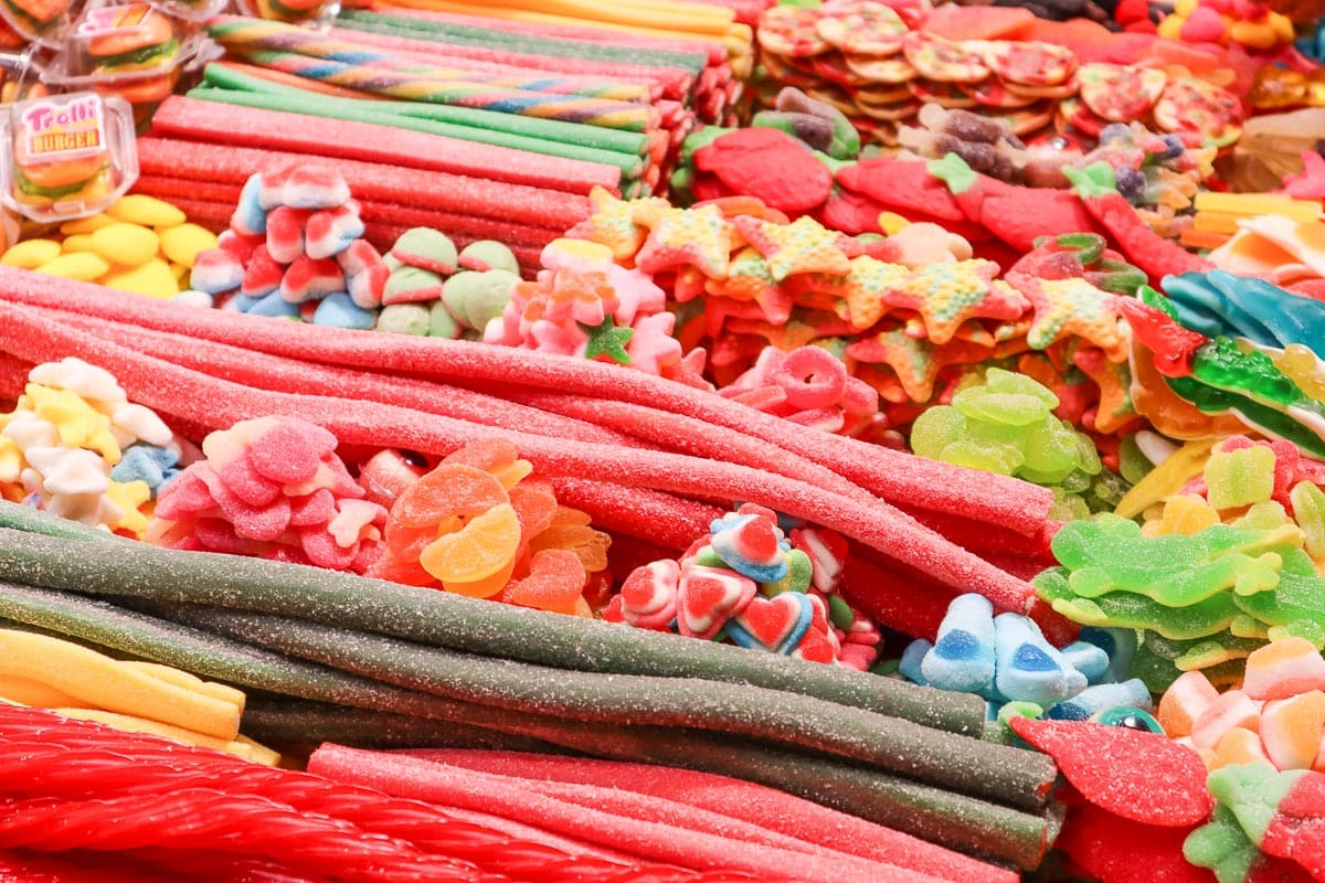 Sweets for sale in Crepes in La Boqueria, Barcelona
