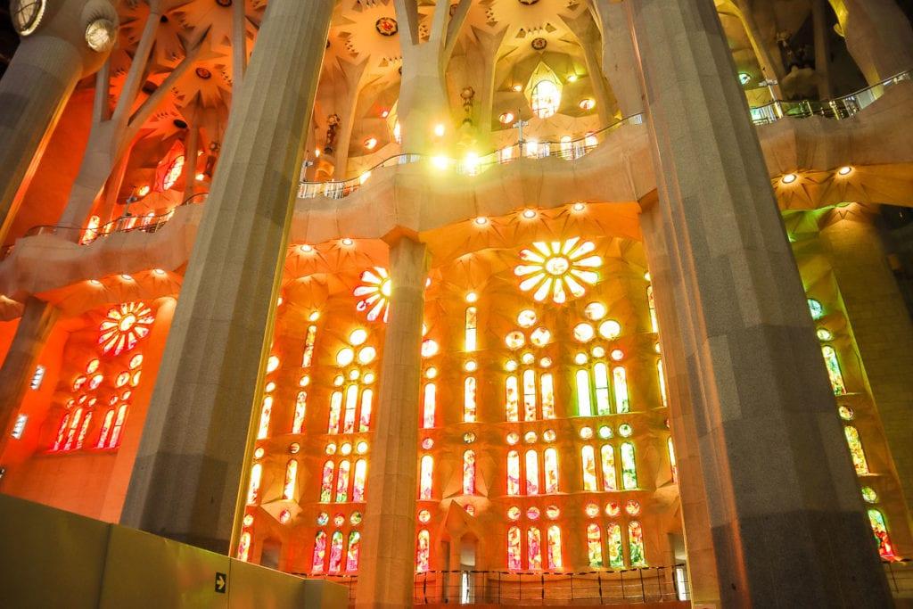 Beautiful stained glass windows at the Sagrada Familia
