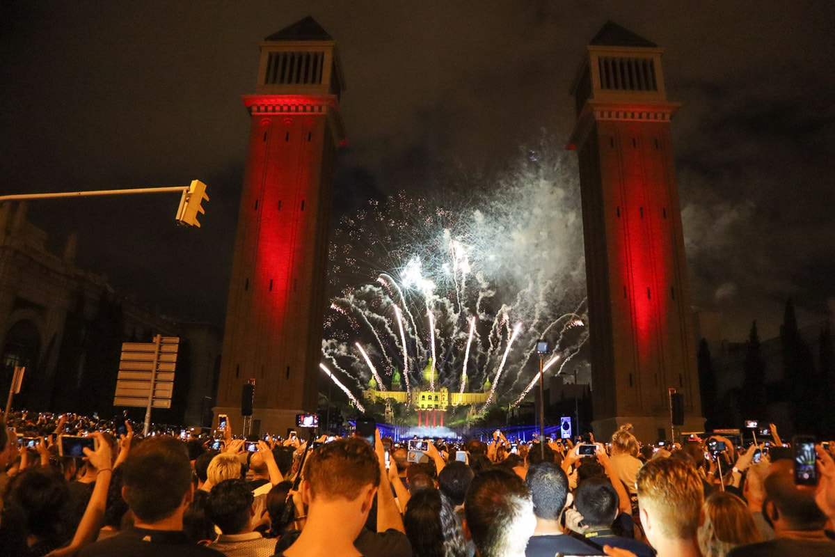 Fireworks at Plaça Espanya for La Mercè Festival, Barcelona