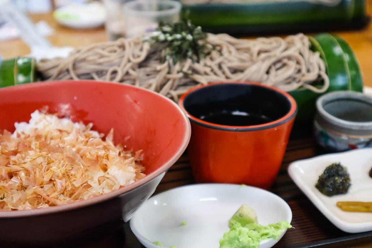 Bonito flakes on rice in Japan