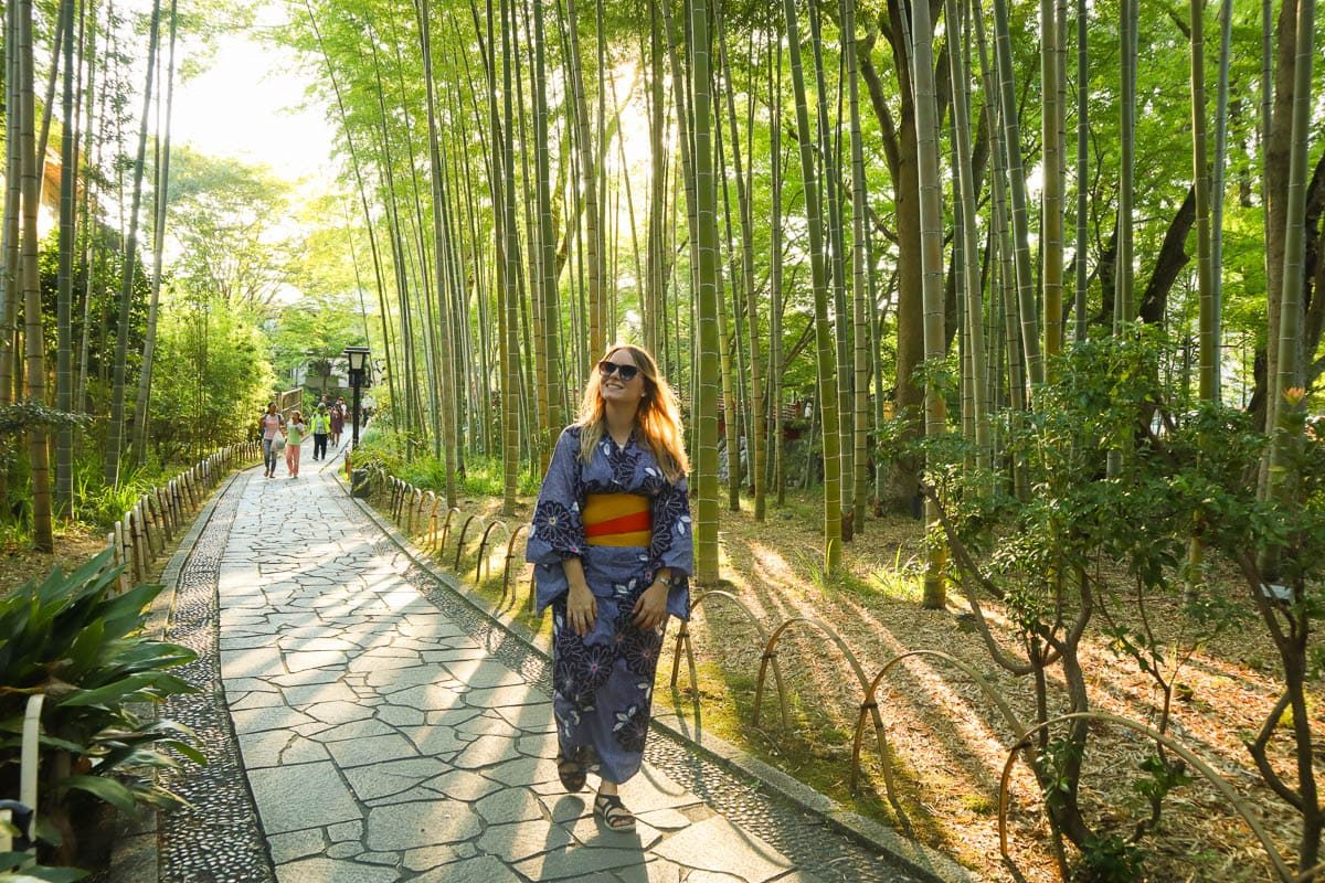 Exploring Shuzenji's bamboo forest in a kimono