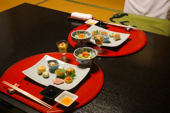 First course of a traditional ryokan dinner, Japan