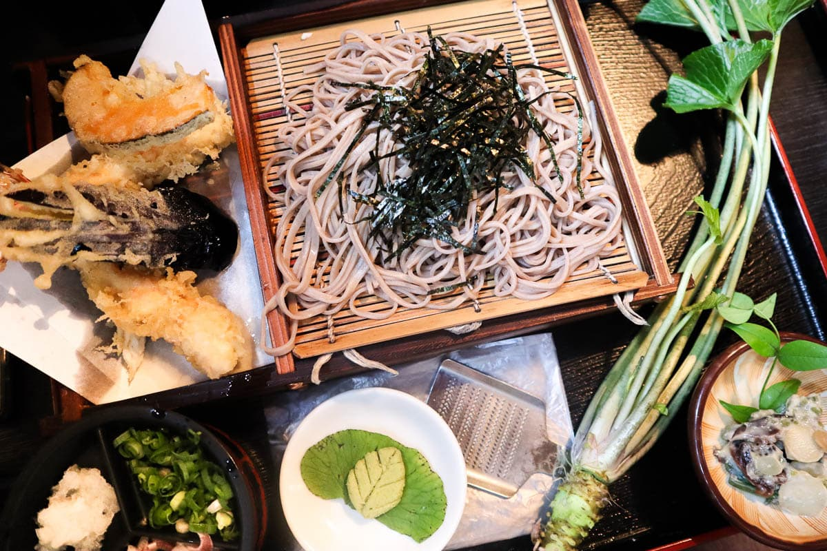 Traditional Izu Peninsula meal - soba noodles and wasabi