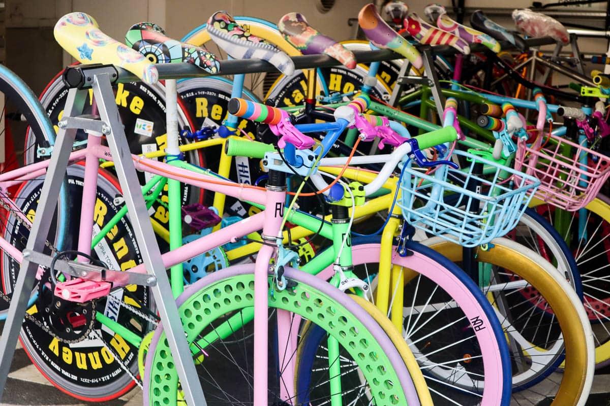 Rainbow bikes in Harajuku, Tokyo