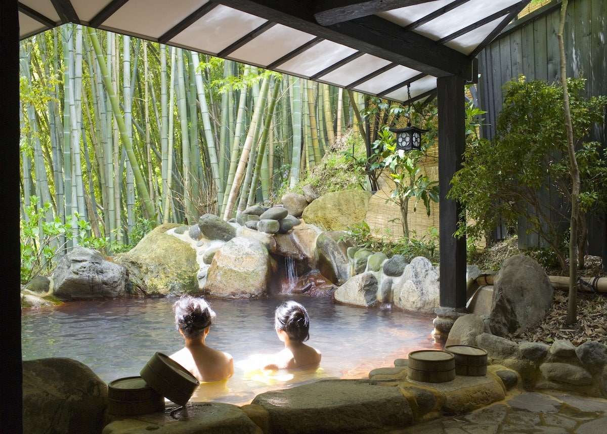 Women bathing at onsen resort in Japan