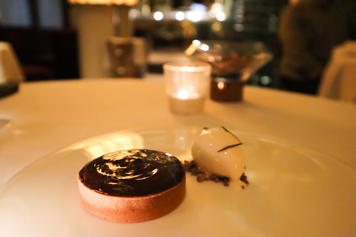 Dark chocolate tart with rosemary at Petrus Restaurant London