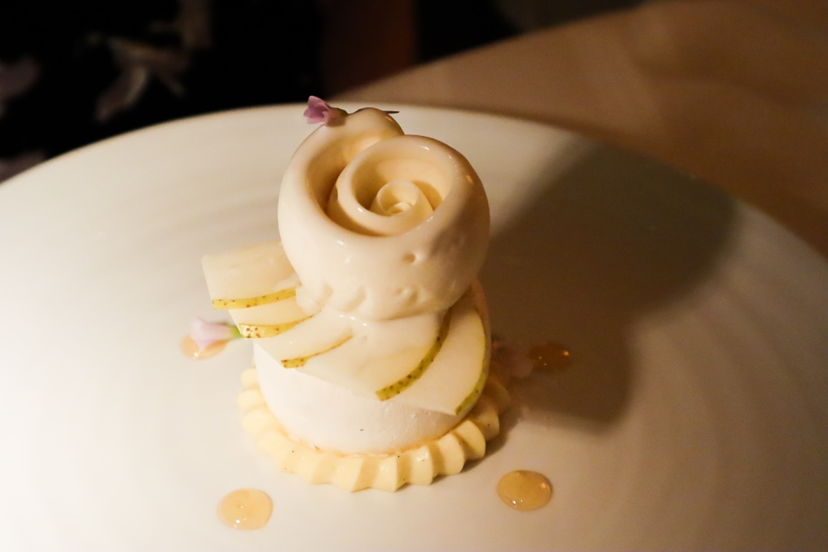 William pear dessert at Petrus Restaurant London
