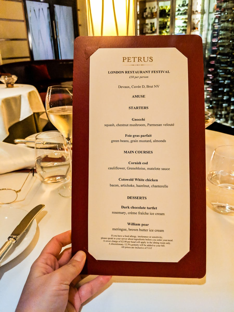 Petrus - London Restaurant Festival 2018 menu