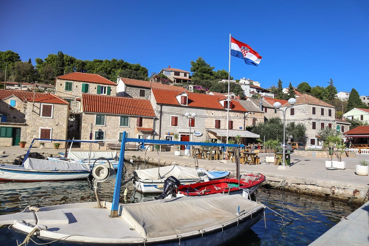 The small fishing harbour on the island of Solta near Split, Croatia