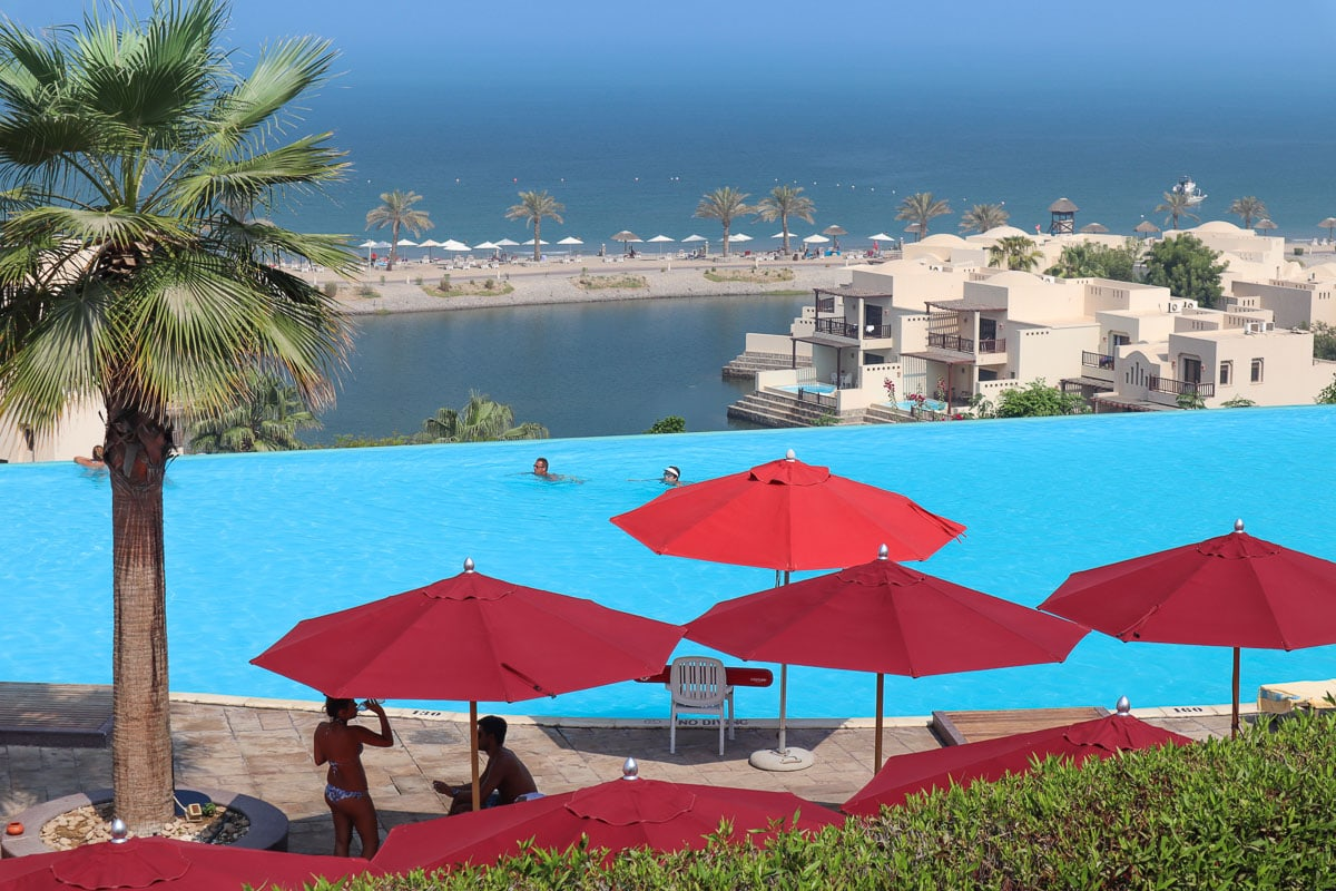 View over the infinity pool at The Cove Rotana Resort, RAK