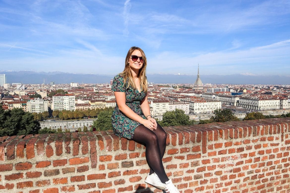 Enjoying the view of Turin, Italy, from Mont Des Capucins