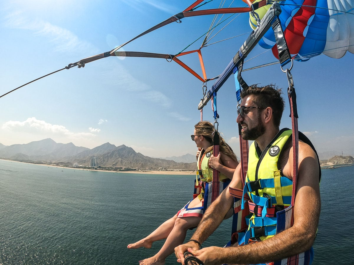 Parasailing past Fujairah Beach, UAE