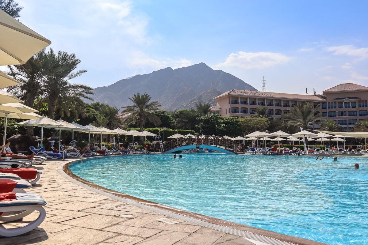 The pool with mountain views at Fujairah Rotana, UAE