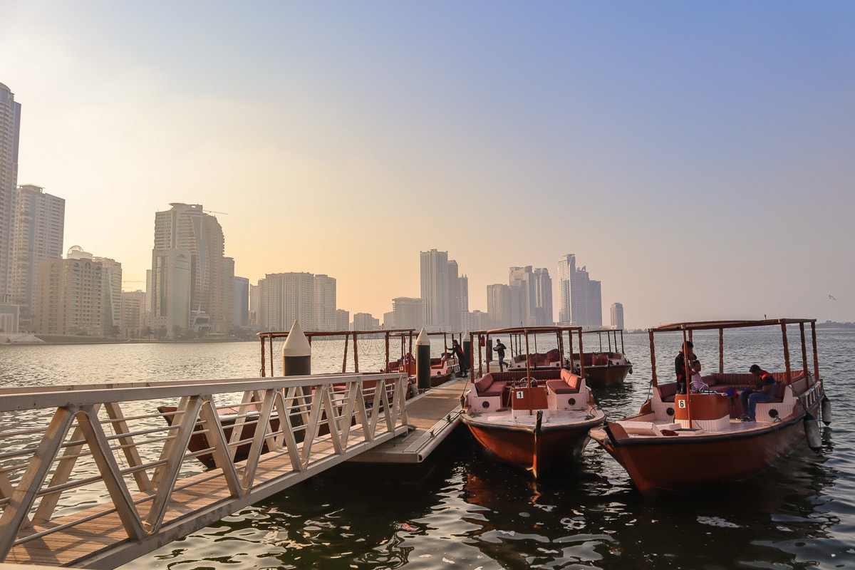 Abras on the lagoon in Sharjah, UAE
