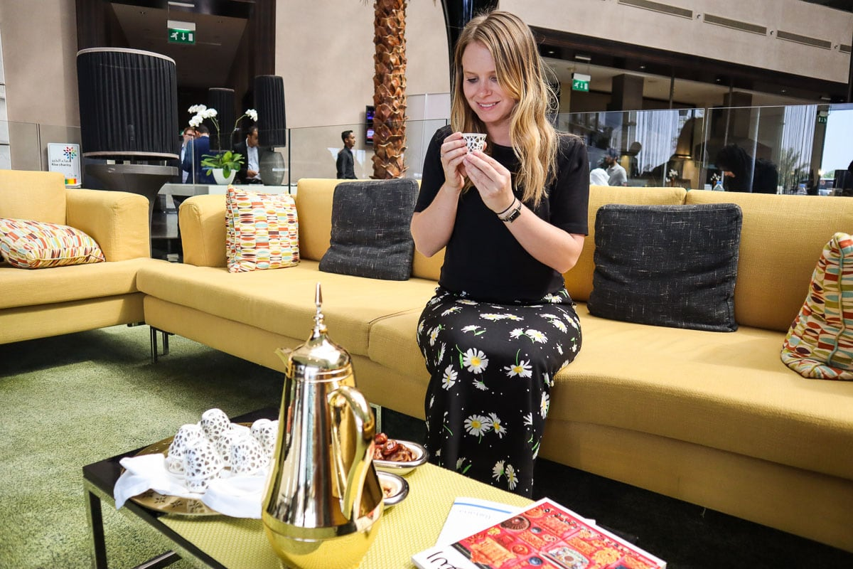 Enjoying traditional Arabic coffee at Centro Sharjah
