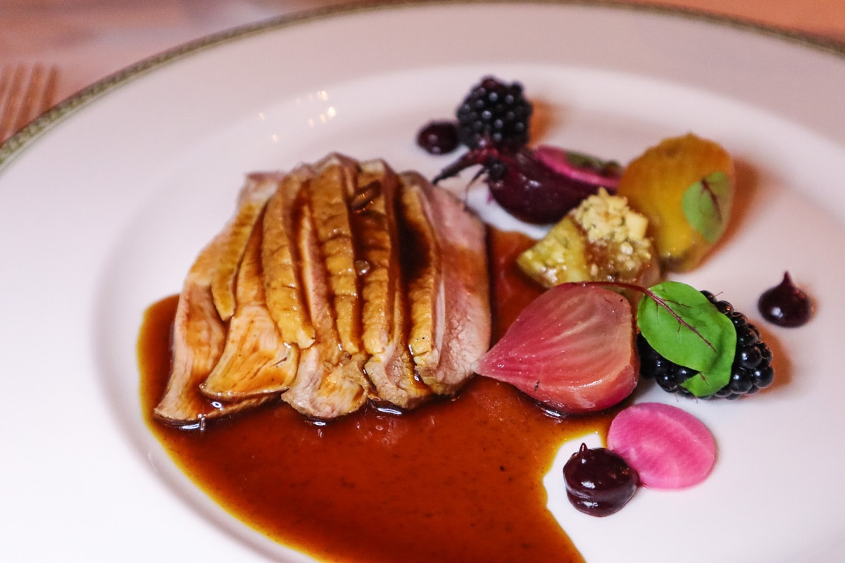 Duck with beetroot and blackberries at the Wernher Restaurant, Luton Hoo Hotel