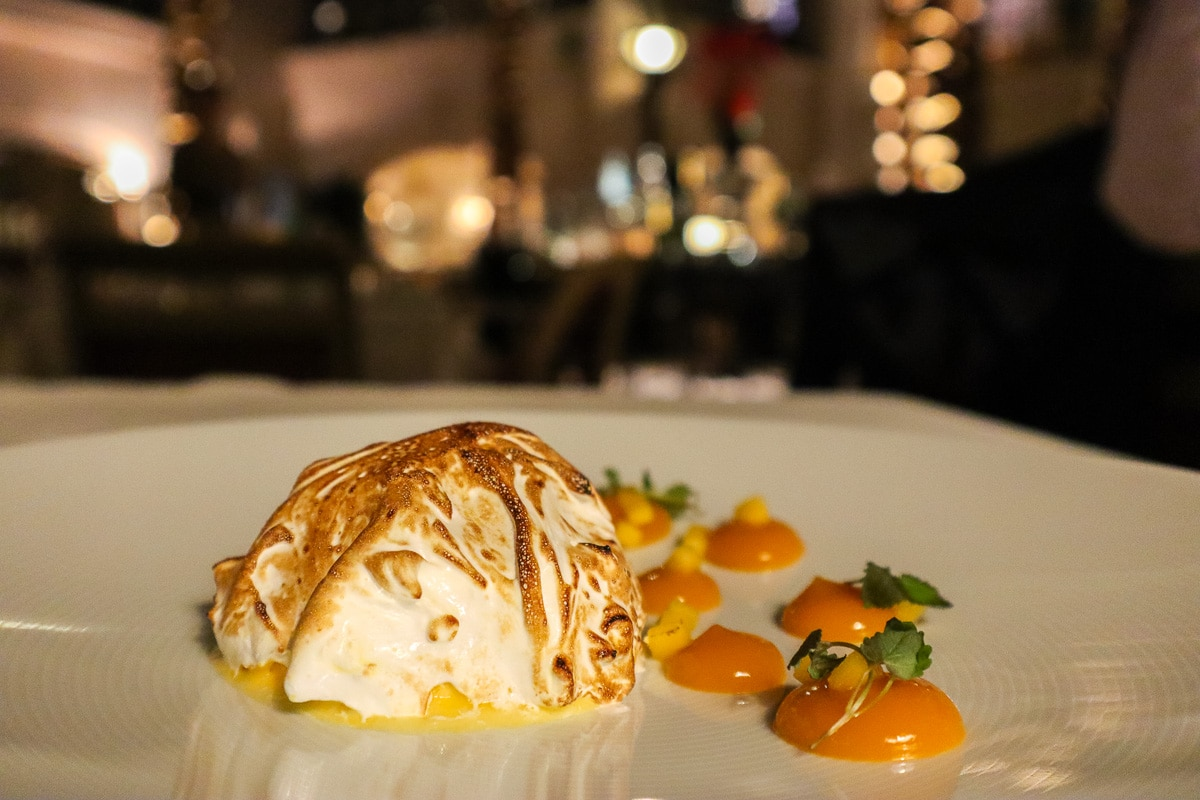 Baked alaska at the Winter Garden Restaurant, London