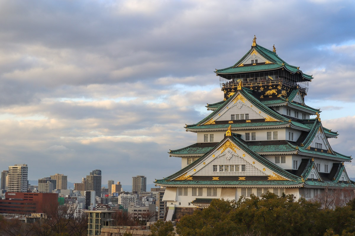 Osaka Castle with Osaka city skyline, Japan