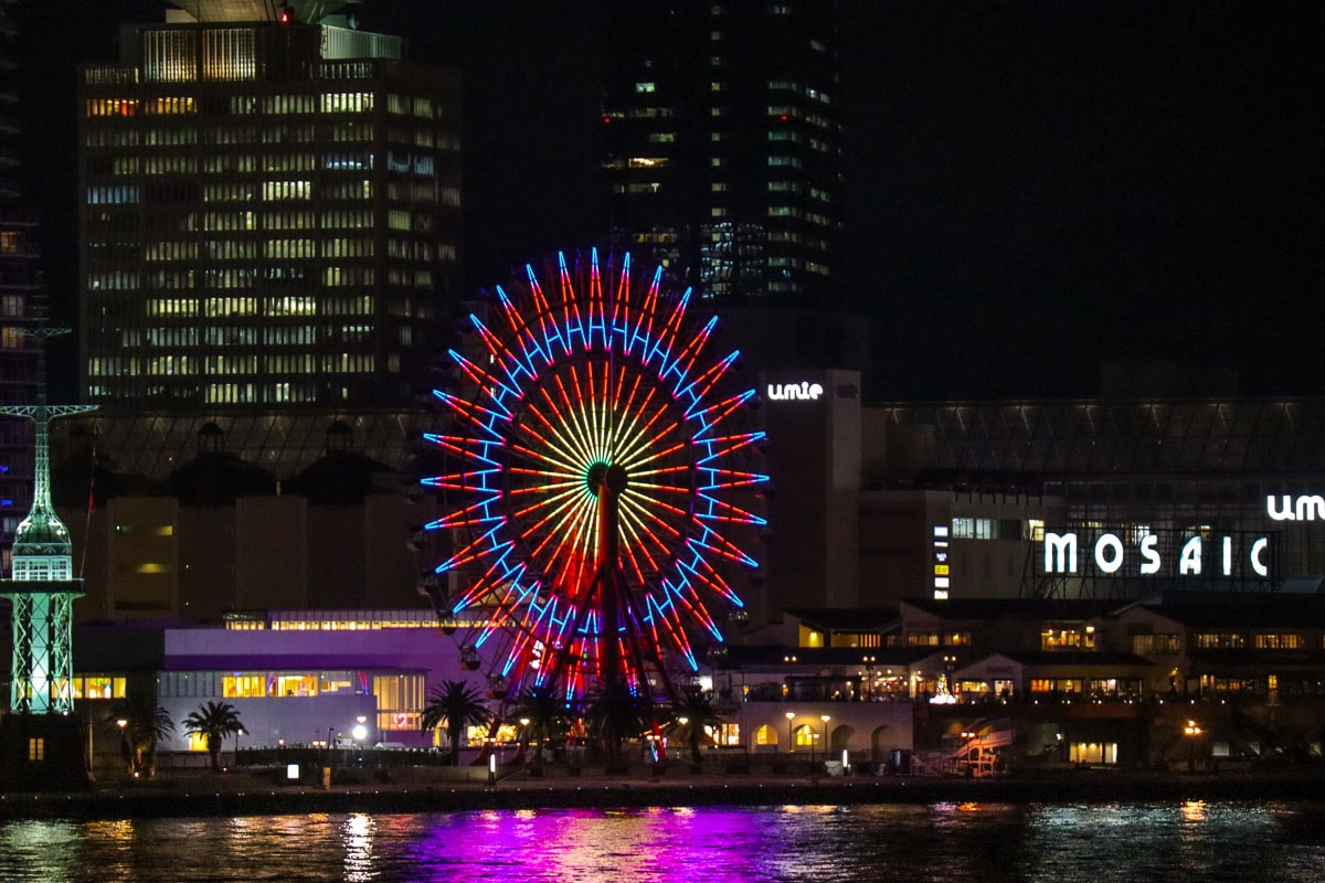 Kobe ferris wheel at night
