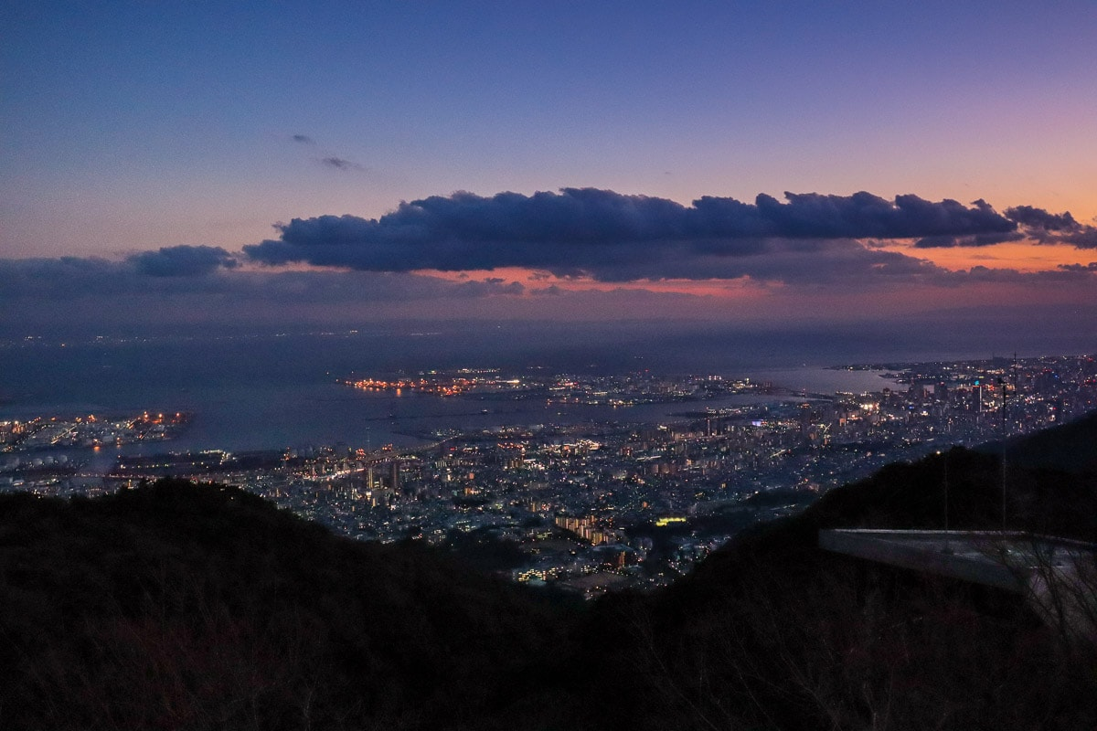 Night view from the terrace at Tenran Cafe, Mount Rokko