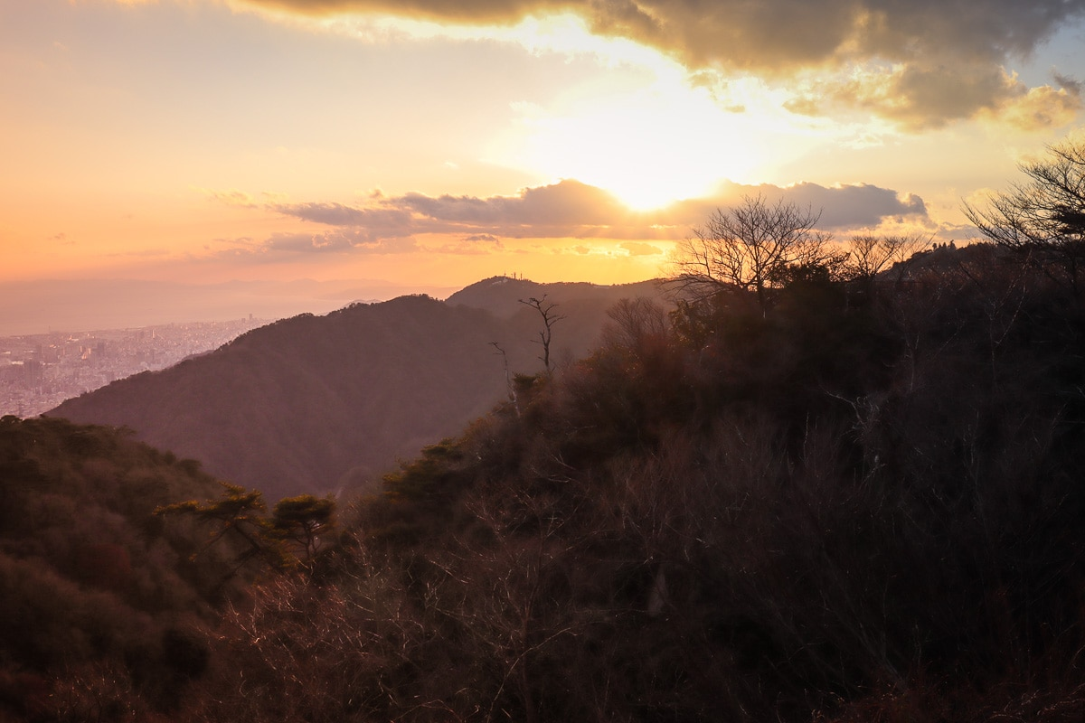 Sunset from the terrace at Tenran Cafe, Mount Rokko