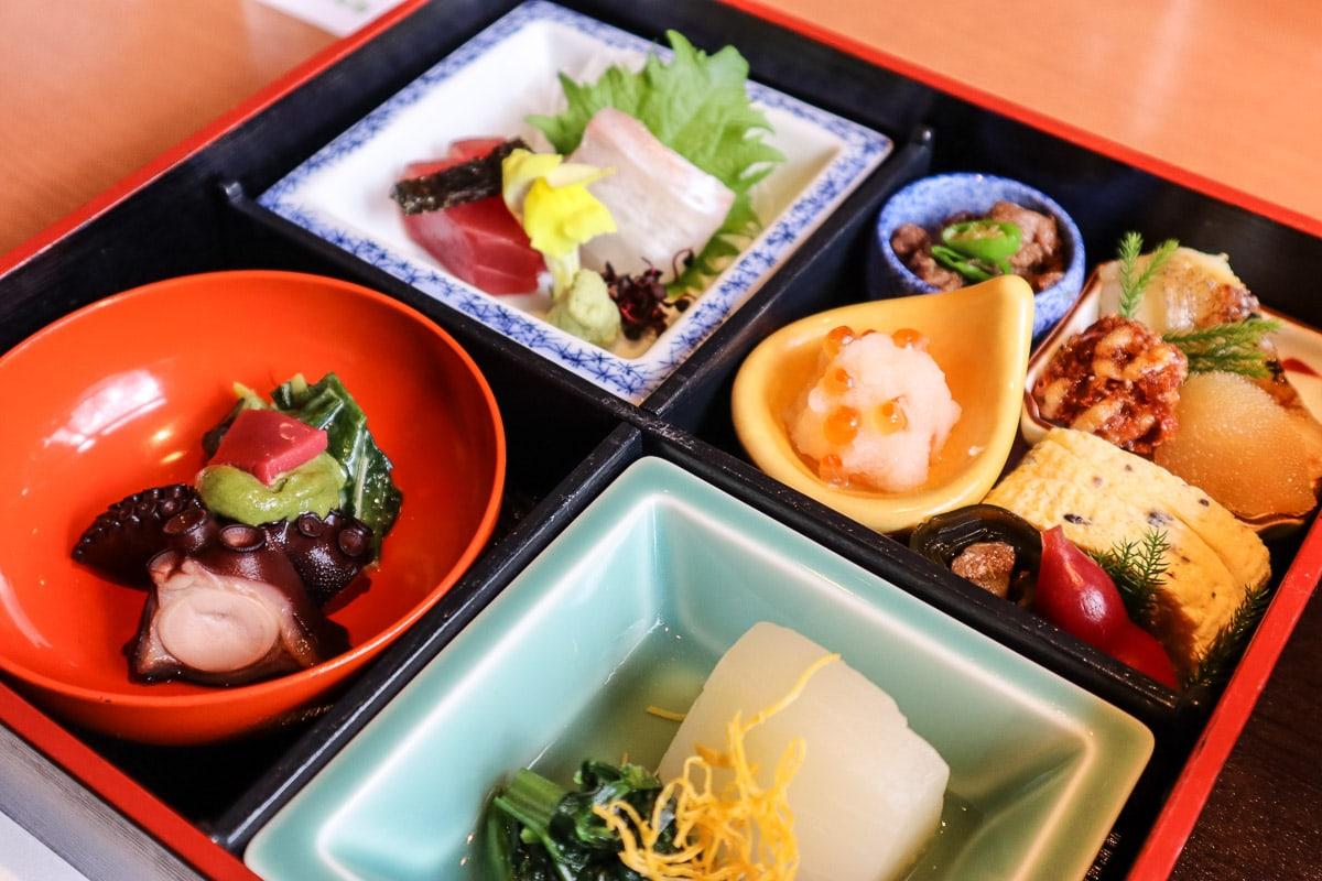 Traditional bento lunch at Hyoe Koyokaku, Arima Onsen, Japan