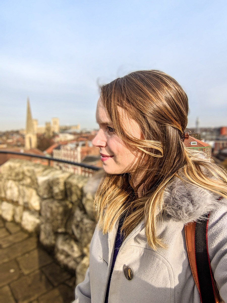 Enjoying the views from Clifford's Tower, York
