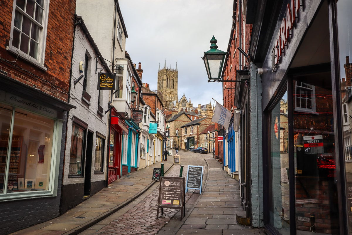 View up Steep Hill to Lincoln Cathedral