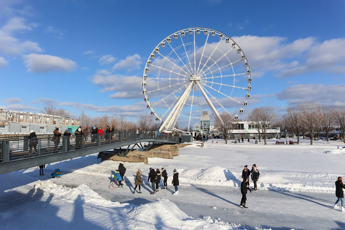 Montreal ice rink and ferris wheel