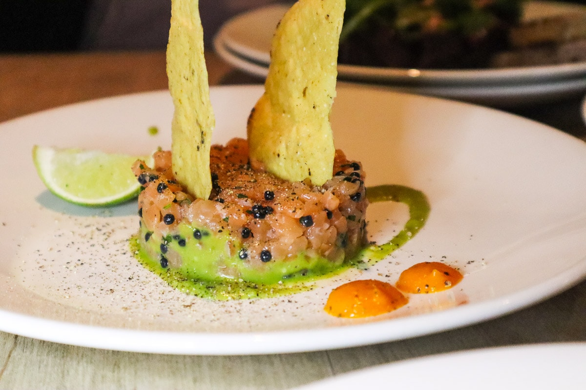 Salmon tartare at Les Enfants Terribles, Montreal