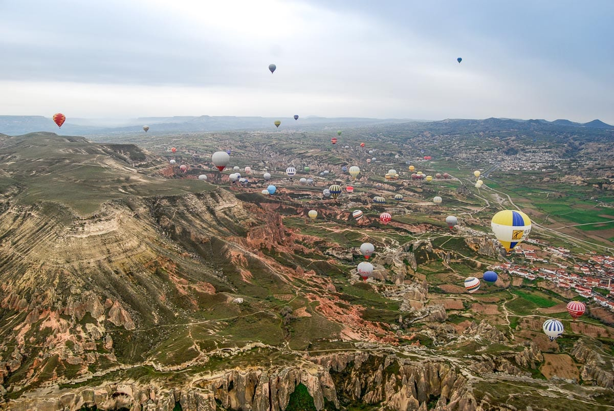 Incredible views over Cappadocia from our hot air balloon