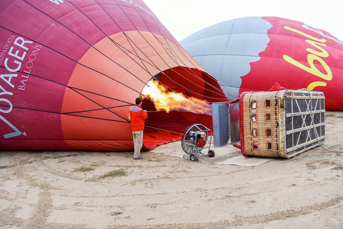 Preparing for our hot air balloon ride in Cappadocia
