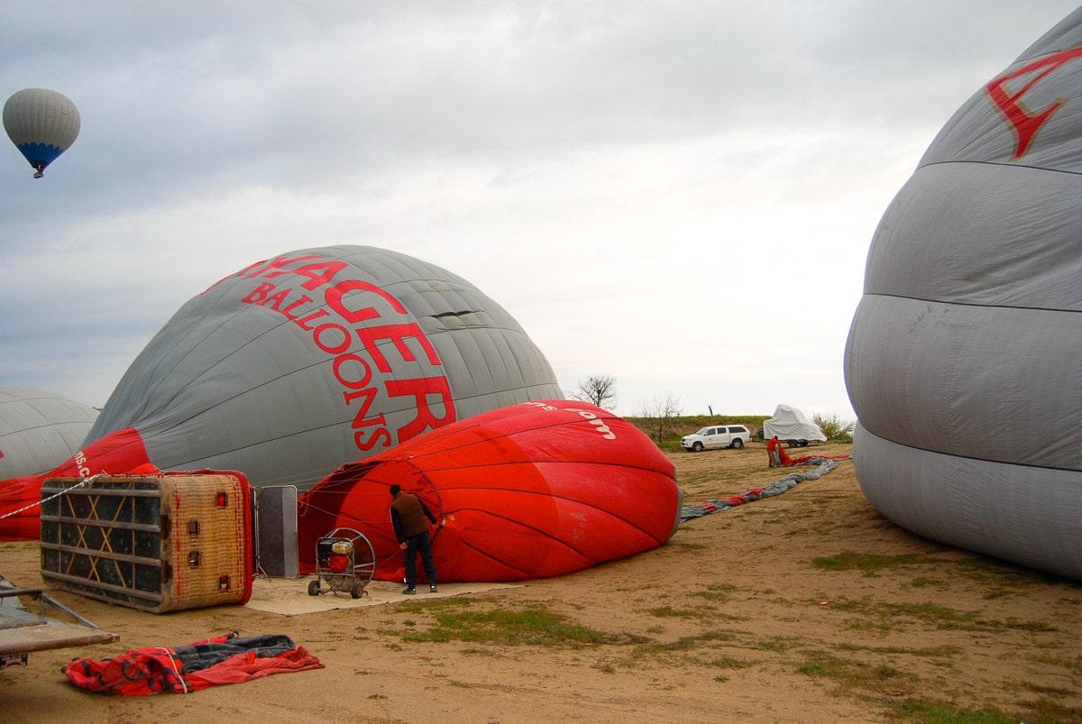Preparing for our hot air balloon ride in Cappadocia
