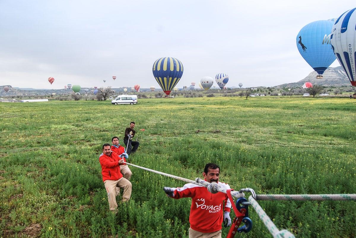 Landing after our hot air balloon flight in Cappadocia