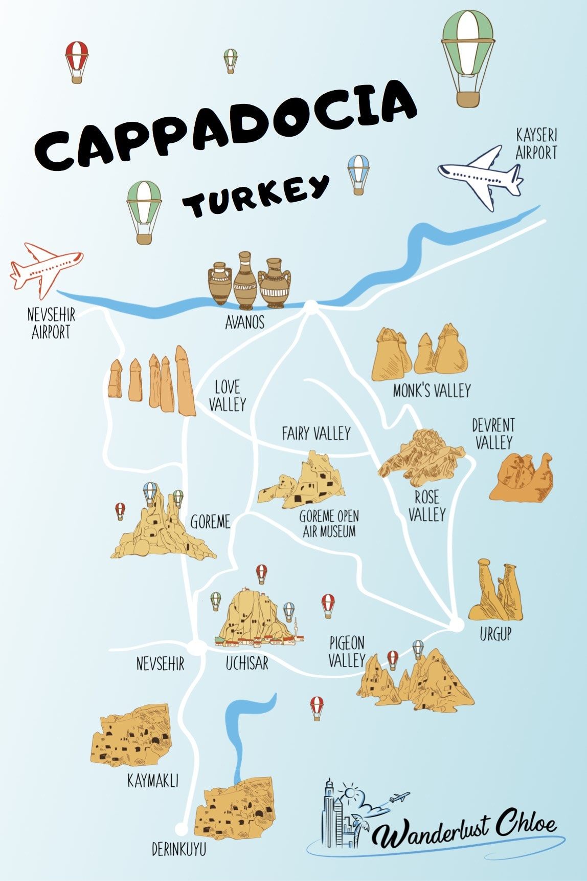 Map of Cappadocia, Turkey