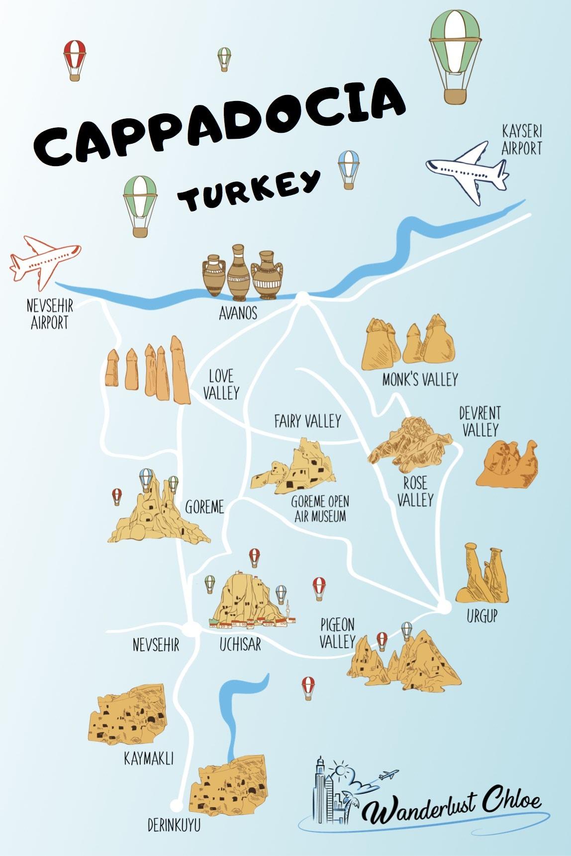 Map of Cappadocia, Turkey