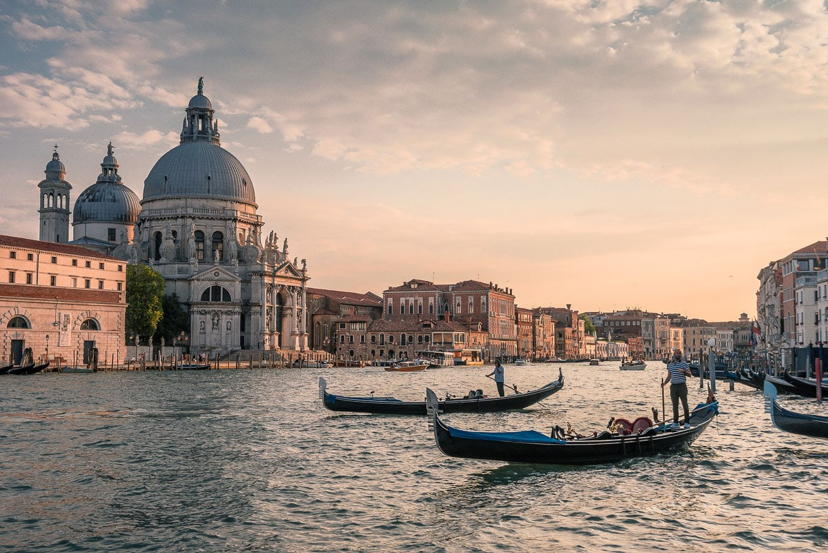 Beautiful views of Venice at dusk
