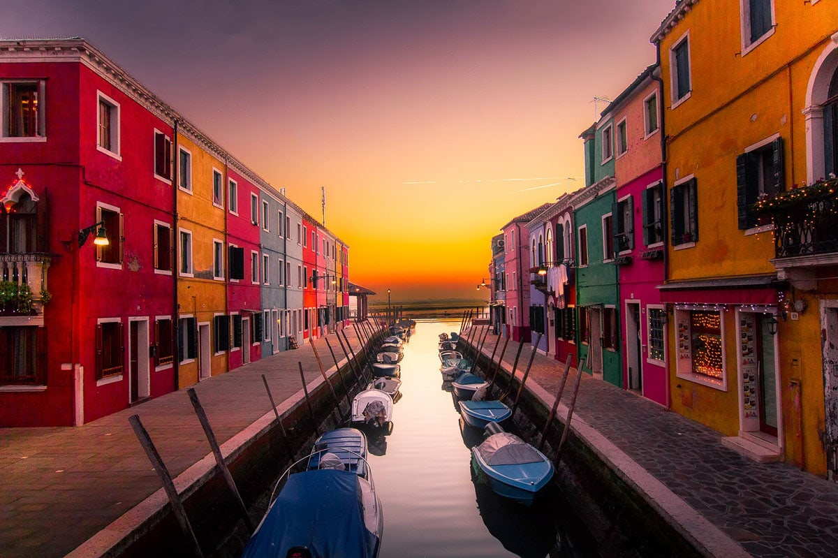 Colourful houses in Murano at sunset