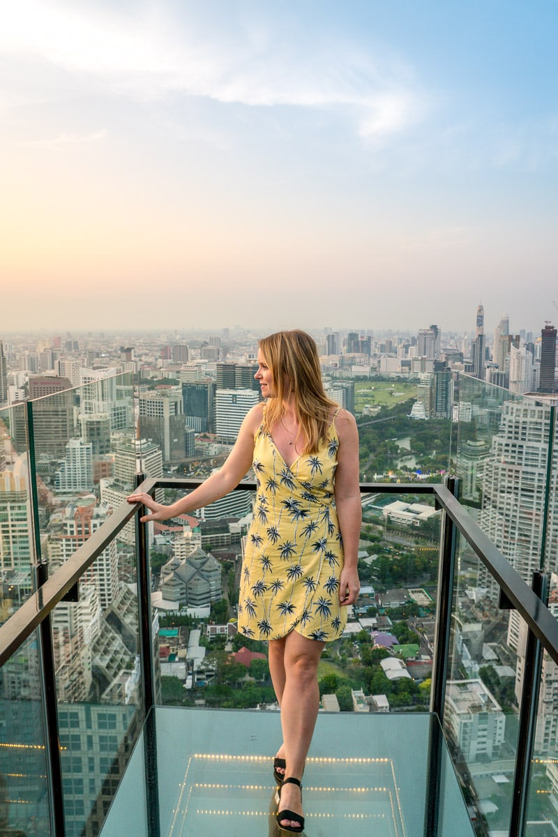 Enjoying the sunset at Banyan Tree Bangkok