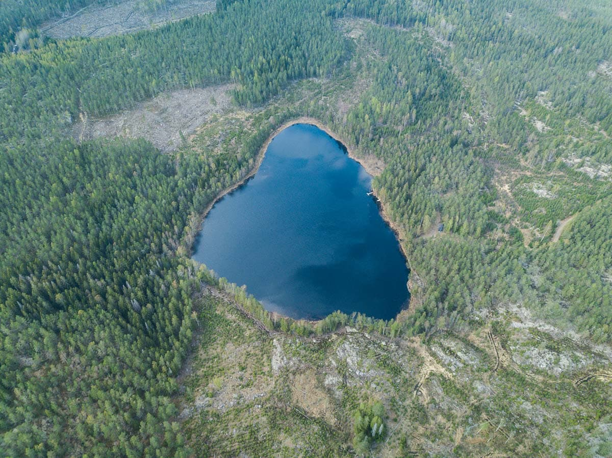 A heart shaped lake in Sörmland, Sweden