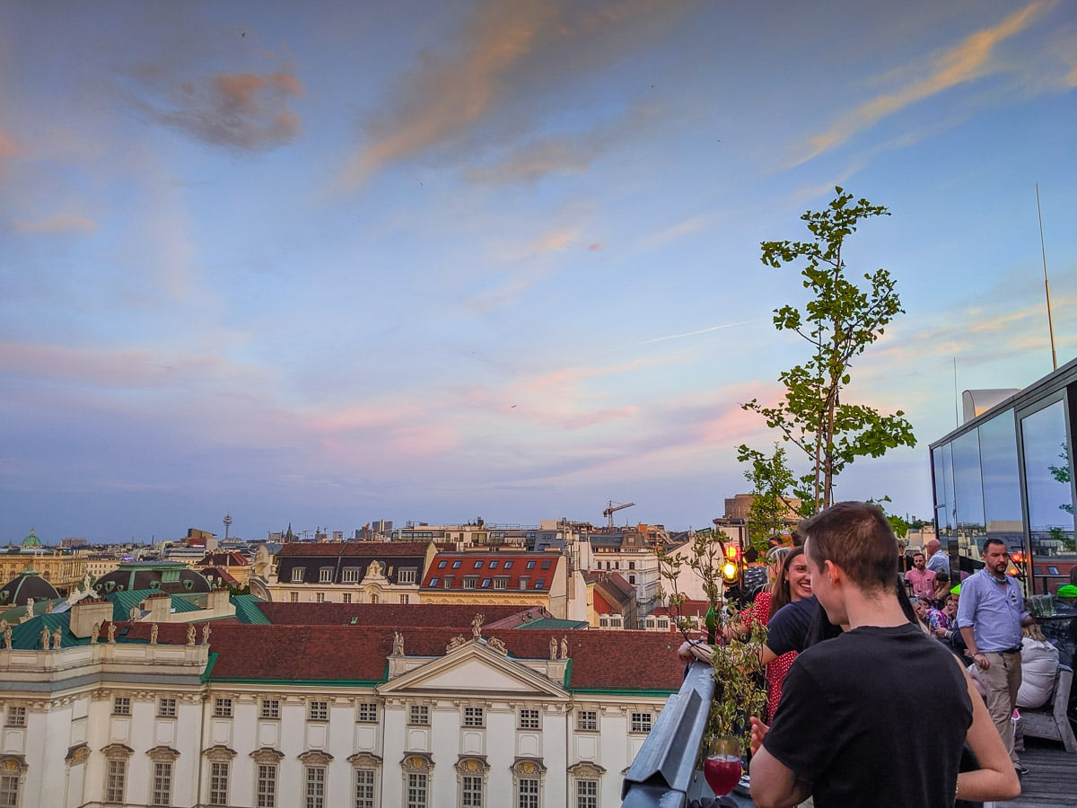 Rooftop bar at the 25Hours Hotel Vienna