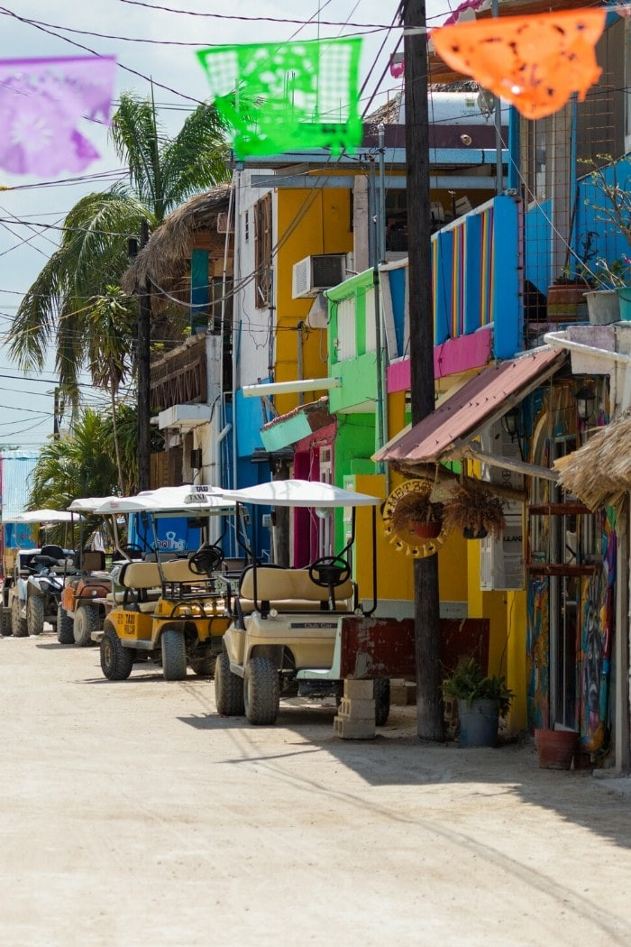 Golf buggies on Isla Holbox Mexico