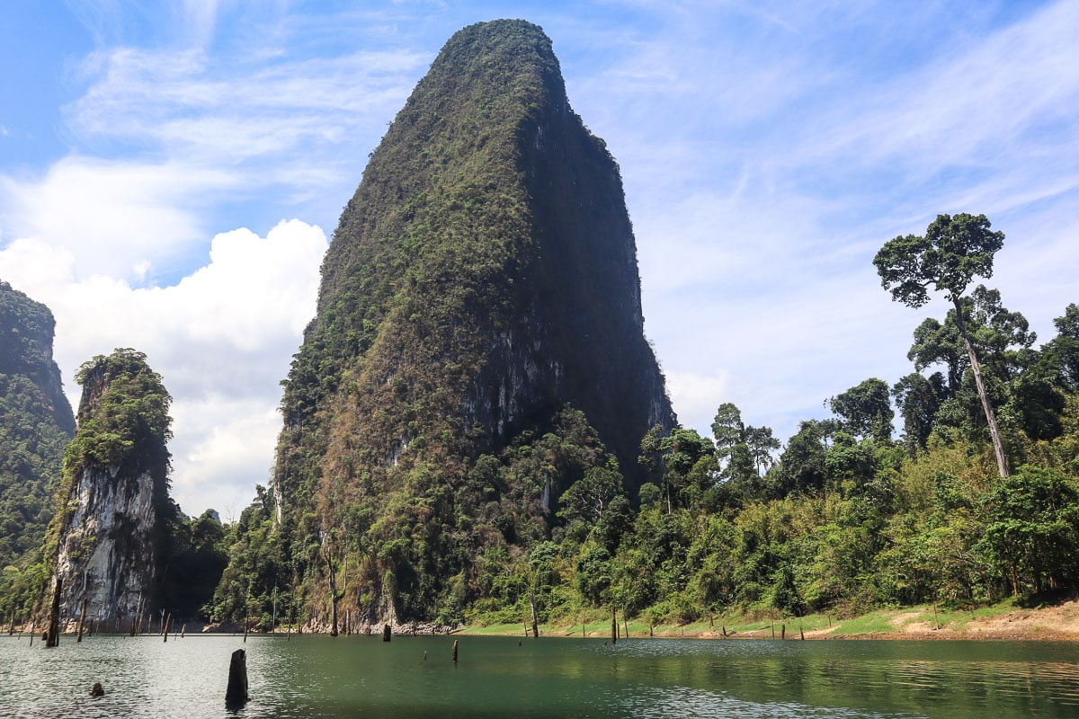 Incredible limestone mountains in Khao Sok National Park Thailand